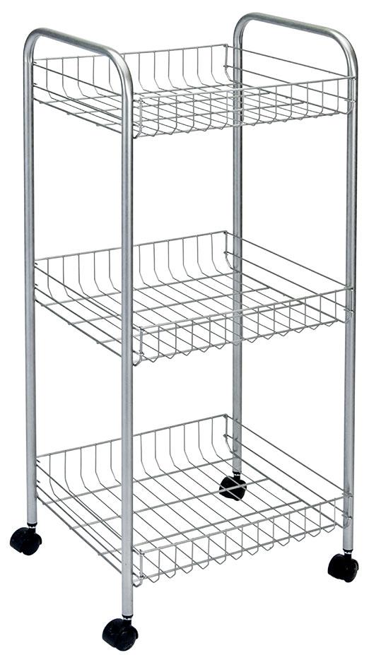 Этажерка 3-х уровневая Montreal, 34 x 34 x 85 смTD 0018Этажерка Montreal предназначена для использования в любых помещениях. Идеально подходит для использования на кухнях, ванных комнатах. Легко перемещается с помощью колесиков. Характеристики: Материал: сталь с поитермическим покрытием. Размер этажерки: 34 см х 34 см х 85 см. Размер полки: 31 см х 31 см х 7 см. Размер упаковки: 85 см х 31 см х 9 см.
