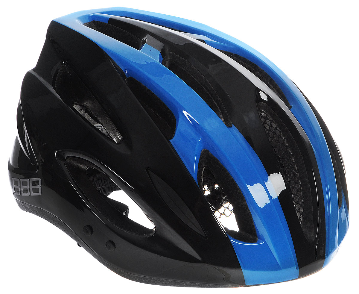 Шлем летний BBB Condor, со съемным козырьком, цвет: черный, синий. Размер MBHE-35Шлем BBB Condor, предназначенный для велосипедистов, скейтбордистов и роллеров, снабжен настраиваемыми ремешками для максимально комфортной посадки. Система TwistClose - позволяет настроить шлем одной рукой. Увеличенное количество вентиляционных отверстий гарантирует отличную циркуляцию воздуха на разных скоростях движения при сохранении жесткости, а отверстия для вентиляции в задней части шлема предназначены для оптимального распределения потока воздуха. Шлем оснащен съемными мягкими накладками с антибактериальными свойствами и съемным козырьком. Внутренняя часть изделия изготовлена из пенополистирола. Ее роль заключается в рассеивании энергии при ударе, а интегрированная конструкция защищает голову при ударе. Фронтальные отверстия изделия прикрыты мелкой сеткой для защиты от насекомых. Верхняя часть шлема, выполненная из прочного пластика, препятствует разрушению изделия, защищает шлем от прокола и позволять ему скользить при ударах. Способность шлема скользить по поверхности является важной его характеристикой, так как при падении движение уменьшается не сразу, а постепенно, снижая тем самым нагрузку на голову и шею. Надежный шлем с ярким дизайном имеет светоотражающие наклейки на задней части изделия. Такой шлем обеспечит высокую степень защиты, а 18 вентиляционных отверстий сделают катание максимально комфортным.Размер: М. Обхват головы: 54-58 см.
