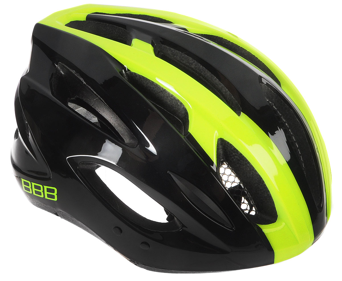 Шлем летний BBB Condor, со съемным козырьком, цвет: желтый неон. Размер LBHE-35Шлем BBB Condor, предназначенный для велосипедистов, скейтбордистов и роллеров, снабжен настраиваемыми ремешками для максимально комфортной посадки. Система TwistClose - позволяет настроить шлем одной рукой. Увеличенное количество вентиляционных отверстий гарантирует отличную циркуляцию воздуха на разных скоростях движения при сохранении жесткости, а отверстия для вентиляции в задней части шлема предназначены для оптимального распределения потока воздуха. Шлем оснащен съемными мягкими накладками с антибактериальными свойствами и съемным козырьком. Внутренняя часть изделия изготовлена из пенополистирола. Ее роль заключается в рассеивании энергии при ударе, а интегрированная конструкция защищает голову при ударе. Фронтальные отверстия изделия прикрыты мелкой сеткой для защиты от насекомых. Верхняя часть шлема, выполненная из прочного пластика, препятствует разрушению изделия, защищает шлем от прокола и позволять ему скользить при ударах. Способность шлема скользить по поверхности является важной его характеристикой, так как при падении движение уменьшается не сразу, а постепенно, снижая тем самым нагрузку на голову и шею. Надежный шлем с ярким дизайном имеет светоотражающие наклейки на задней части изделия. Такой шлем обеспечит высокую степень защиты, а 18 вентиляционных отверстий сделают катание максимально комфортным.Размер: L. Обхват головы: 58-61,5 см.
