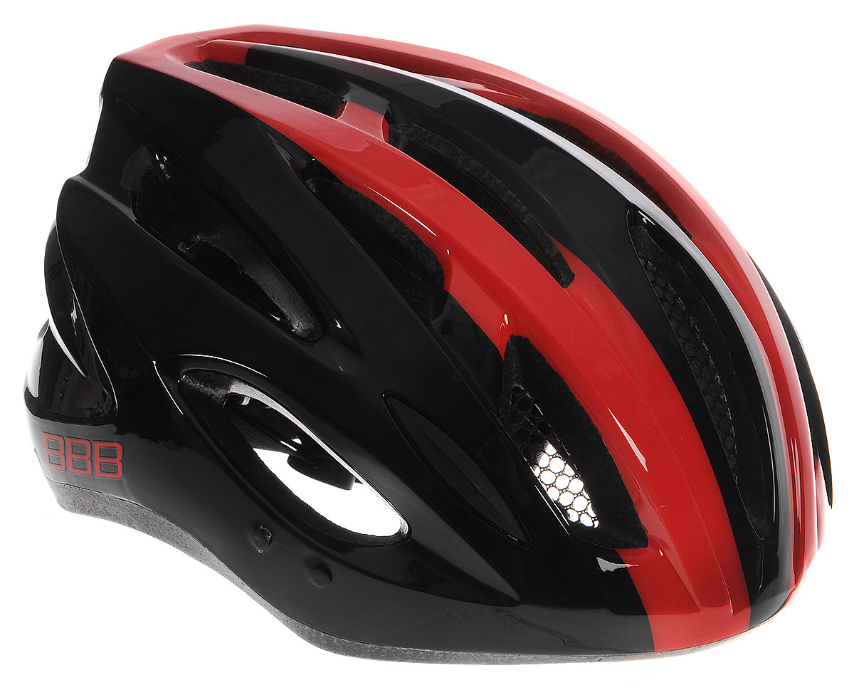 Шлем летний BBB Condor, со съемным козырьком, цвет: красный, черный. Размер LBHE-35Шлем BBB Condor, предназначенный для велосипедистов, скейтбордистов и роллеров, снабжен настраиваемыми ремешками для максимально комфортной посадки. Система TwistClose - позволяет настроить шлем одной рукой. Увеличенное количество вентиляционных отверстий гарантирует отличную циркуляцию воздуха на разных скоростях движения при сохранении жесткости, а отверстия для вентиляции в задней части шлема предназначены для оптимального распределения потока воздуха. Шлем оснащен съемными мягкими накладками с антибактериальными свойствами и съемным козырьком. Внутренняя часть изделия изготовлена из пенополистирола. Ее роль заключается в рассеивании энергии при ударе, а интегрированная конструкция защищает голову при ударе. Фронтальные отверстия изделия прикрыты мелкой сеткой для защиты от насекомых. Верхняя часть шлема, выполненная из прочного пластика, препятствует разрушению изделия, защищает шлем от прокола и позволять ему скользить при ударах. Способность шлема скользить по поверхности является важной его характеристикой, так как при падении движение уменьшается не сразу, а постепенно, снижая тем самым нагрузку на голову и шею. Надежный шлем с ярким дизайном имеет светоотражающие наклейки на задней части изделия. Такой шлем обеспечит высокую степень защиты, а 18 вентиляционных отверстий сделают катание максимально комфортным.Размер: L. Обхват головы: 58-61,5 см.