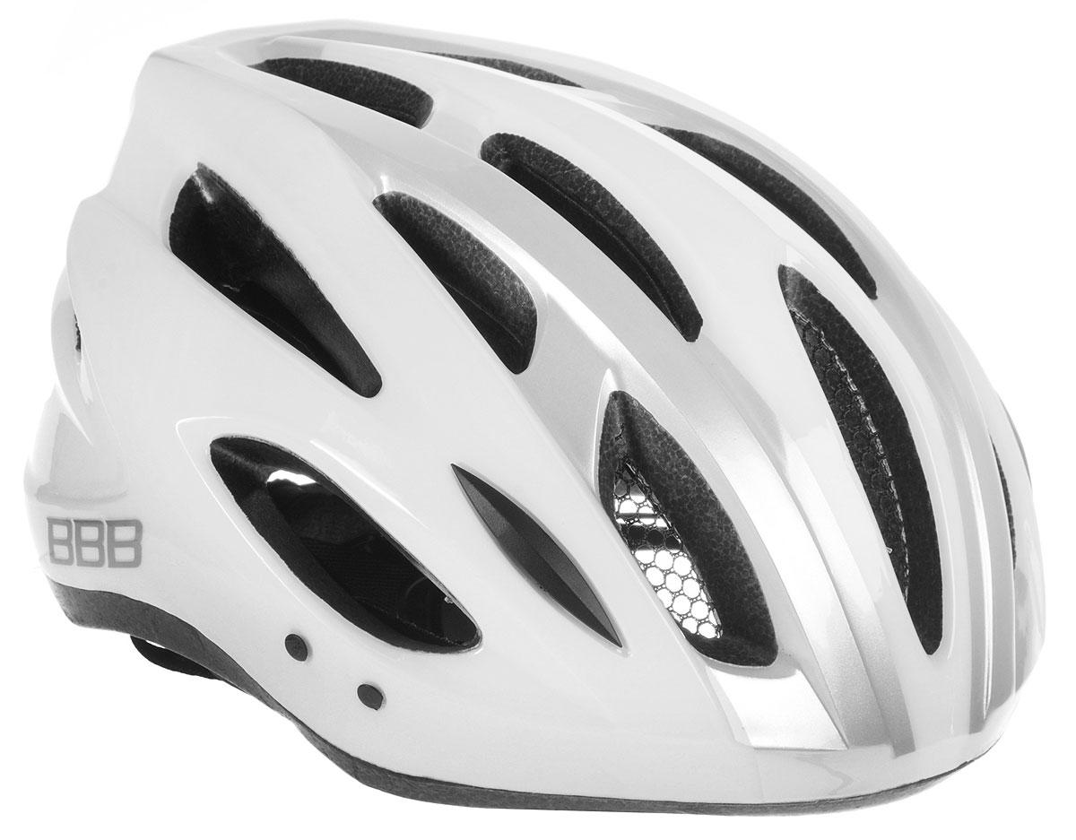 Шлем летний BBB Condor, со съемным козырьком, цвет: белый, серебристый. Размер LBHE-35Шлем BBB Condor, предназначенный для велосипедистов, скейтбордистов и роллеров, снабжен настраиваемыми ремешки для максимально комфортной посадки. Система TwistClose - позволяет настроить шлем одной рукой. Увеличенное количество вентиляционных отверстий гарантирует отличную циркуляцию воздуха на разных скоростях движения при сохранении жесткости, а отверстия для вентиляции в задней части шлема предназначены для оптимального распределения потока воздуха. Шлем оснащен съемными мягкими накладками с антибактериальными свойствами и съемным козырьком. Внутренняя часть изделия изготовлена из пенополистирола. Ее роль заключается в рассеивании энергии при ударе, а интегрированная конструкция защищает голову при ударе. Фронтальные отверстия изделия прикрыты мелкой сеткой для защиты от насекомых. Верхняя часть шлема, выполненная из прочного пластика, препятствует разрушению изделия, защищает шлем от прокола и позволять ему скользить при ударах. Способность шлема скользить по поверхности является важной его характеристикой, так как при падении движение уменьшается не сразу, а постепенно, снижая тем самым нагрузку на голову и шею. Надежный шлем с ярким дизайном имеет светоотражающие наклейки на задней части изделия. Такой шлем обеспечит высокую степень защиты, а 18 вентиляционных отверстий сделают катание максимально комфортным.Размер: L. Обхват головы: 58-61,5 см.