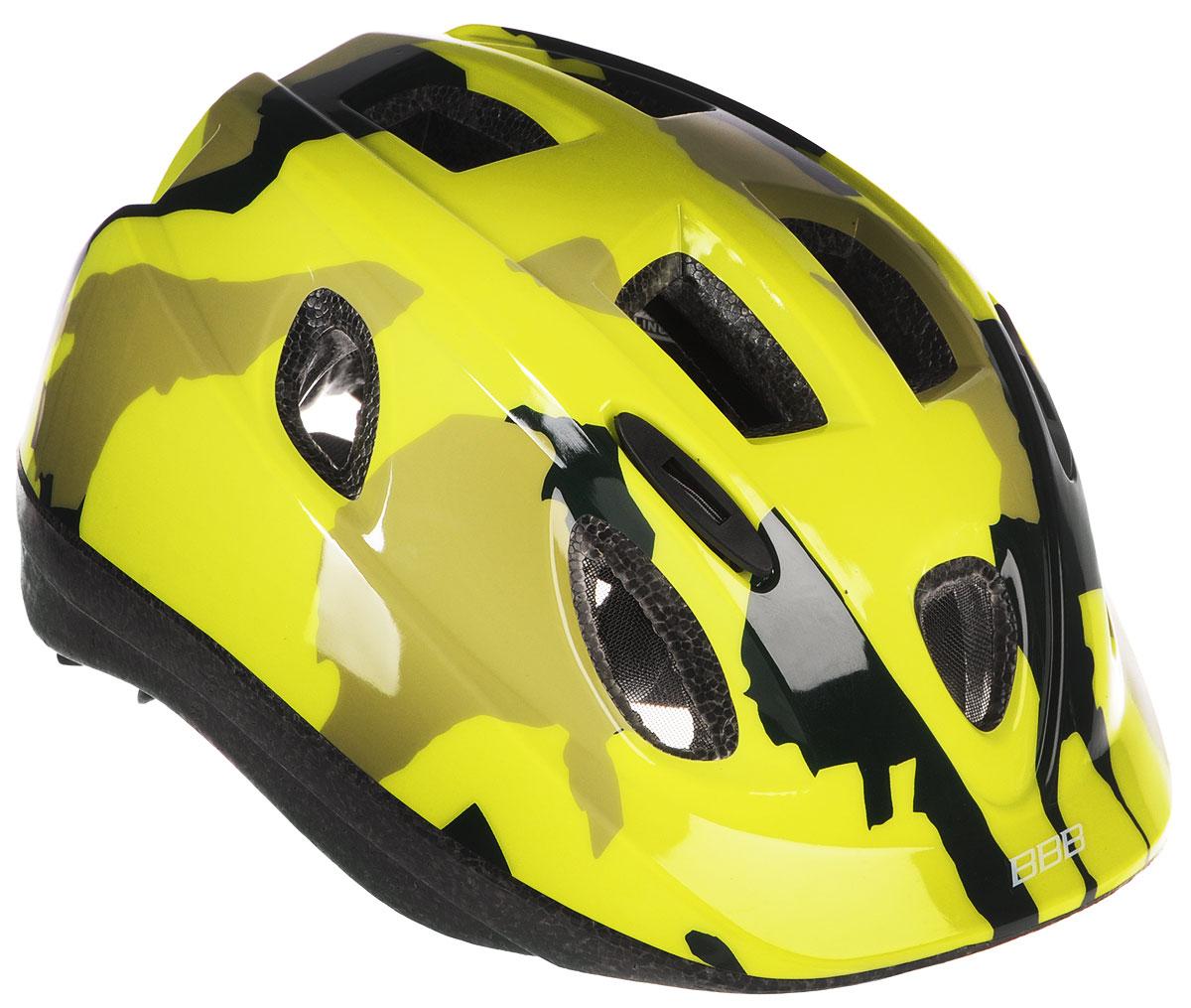 Шлем летний BBB Boogy. Камуфляж, цвет: желтый неон. Размер SГризлиДетский шлем BBB Boogy. Камуфляж предназначен для велосипедистов, скейтбордистов и роллеров. Изделие снабжено настраиваемыми ремешками для максимально комфортной посадки. Система TwistClose - позволяет настроить шлем одной рукой. Увеличенное количество вентиляционных отверстий гарантирует отличную циркуляцию воздуха на разных скоростях движения при сохранении жесткости. Шлем оснащен съемными мягкими накладками с антибактериальными свойствами. Внутренняя часть изделия изготовлена из пенополистирола. Ее роль заключается в рассеивании энергии при ударе, что защищает голову. Верхняя часть шлема, выполненная из прочного пластика, препятствует разрушению изделия, защищает шлем от прокола и позволять ему скользить при ударах. Способность шлема скользить по поверхности является важной его характеристикой, так как при падении движение уменьшается не сразу, а постепенно, снижая тем самым нагрузку на голову и шею. Надежный шлем с ярким дизайном имеет светоотражающие наклейки на задней части изделия. Такой шлем обеспечит высокую степень защиты вашего ребенка. А 12 вентиляционных отверстий сделают катание максимально комфортным.Размер: S. Обхват головы ребенка: 48-54 см.