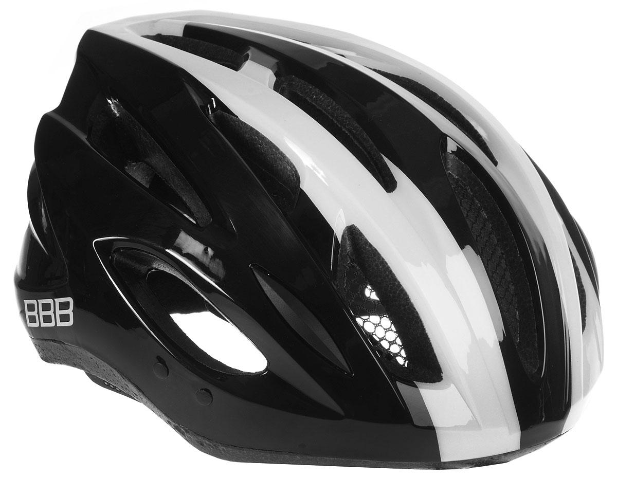 Шлем летний BBB Condor, со съемным козырьком, цвет: черный, белый. Размер LBHE-35Шлем BBB Condor, предназначенный для велосипедистов, скейтбордистов и роллеров, снабжен настраиваемыми ремешками для максимально комфортной посадки. Система TwistClose - позволяет настроить шлем одной рукой. Увеличенное количество вентиляционных отверстий гарантирует отличную циркуляцию воздуха на разных скоростях движения при сохранении жесткости, а отверстия для вентиляции в задней части шлема предназначены для оптимального распределения потока воздуха. Шлем оснащен съемными мягкими накладками с антибактериальными свойствами и съемным козырьком. Внутренняя часть изделия изготовлена из пенополистирола. Ее роль заключается в рассеивании энергии при ударе, а интегрированная конструкция защищает голову при ударе. Фронтальные отверстия изделия прикрыты мелкой сеткой для защиты от насекомых. Верхняя часть шлема, выполненная из прочного пластика, препятствует разрушению изделия, защищает шлем от прокола и позволять ему скользить при ударах. Способность шлема скользить по поверхности является важной его характеристикой, так как при падении движение уменьшается не сразу, а постепенно, снижая тем самым нагрузку на голову и шею. Надежный шлем с ярким дизайном имеет светоотражающие наклейки на задней части изделия. Такой шлем обеспечит высокую степень защиты, а 18 вентиляционных отверстий сделают катание максимально комфортным.Размер: L. Обхват головы: 58-61,5 см.