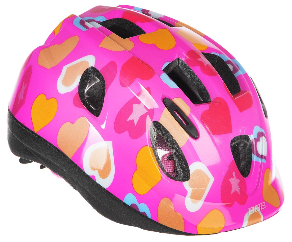 Шлем летний BBB Boogy. Сердечки, цвет: фуксия, красный, оранжевый. Размер SBHE-34Детский шлем BBB Boogy. Сердечки предназначен для велосипедистов, скейтбордистов и роллеров. Изделие снабжено настраиваемыми ремешками для максимально комфортной посадки. Система TwistClose - позволяет настроить шлем одной рукой. Увеличенное количество вентиляционных отверстий гарантирует отличную циркуляцию воздуха на разных скоростях движения при сохранении жесткости. Шлем оснащен съемными мягкими накладками с антибактериальными свойствами. Внутренняя часть изделия изготовлена из пенополистирола. Ее роль заключается в рассеивании энергии при ударе, что защищает голову. Верхняя часть шлема, выполненная из прочного пластика, препятствует разрушению изделия, защищает шлем от прокола и позволять ему скользить при ударах. Способность шлема скользить по поверхности является важной его характеристикой, так как при падении движение уменьшается не сразу, а постепенно, снижая тем самым нагрузку на голову и шею. Надежный шлем с ярким дизайном имеет светоотражающие наклейки на задней части изделия. Такой шлем обеспечит высокую степень защиты вашего ребенка. А 12 вентиляционных отверстий сделают катание максимально комфортным.Размер: S. Обхват головы ребенка 48-54 см.