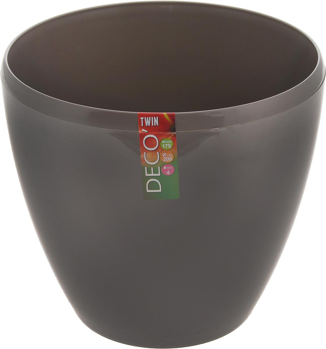 Горшок цветочный Santino Deco Twin, двойной, с системой автополива, цвет: шаде, 4 лАРТ 5 Б-ЧГоршок цветочный Santino Deco Twin снабжен дренажной системой и состоит из кашпо и вазона-вкладыша. Изготовлен из пластика. Особенность: тарелочка или блюдце не нужны. Горшок предназначен для любых растений или цветов. Цветочный дренаж – это система, которая позволяет выводить лишнюю влагу через корневую систему цветка и слой почвы. Растение – это живой организм, следовательно, ему необходимо дышать. В доступе к кислороду нуждаются все части растения: -листья; -корневая система. Если цветовод по какой-либо причине зальет цветок водой, то она буквально вытеснит из почвенного слоя все пузырьки кислорода. Анаэробная среда способствует развитию различного рода бактерий. Безвоздушная среда приводит к загниванию корневой системы, цветок в результате увядает. Суть работы дренажной системы заключается в том, чтобы осуществлять отвод лишней влаги от растения и давать возможность корневой системе дышать без проблем. Следовательно, каждому цветку необходимо: -иметь в основании цветочного горшочка хотя бы одно небольшое дренажное отверстие. Оно необходимо для того, чтобы через него выходила лишняя вода, плюс ко всему это отверстие дает возможность циркулировать воздух. -на самом дне горшка необходимо выложить слоем в 2-5 см (зависит от вида растения) дренаж.УВАЖАЕМЫЕ КЛИЕНТЫ!Обращаем ваше внимание на тот факт, что фото изделия служит для визуального восприятия товара. Литраж и размеры, представленные на этикетке товара, могут по факту отличаться от реальных. Корректные данные в поле Размеры.