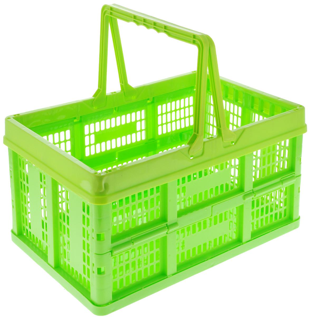 Ящик универсальный Альтернатива, раскладной, цвет: салатовый, 38,5 х 25,5 х 21 см662034_салатовыйУниверсальный ящик Альтернатива изготовлен из высококачественного пластика. Ящик предназначен для хранения и транспортировки овощей. Он оснащен ручками для переноски. При необходимости ящик можно сложить. Ящик компактный, он не займет много места. Универсальный ящик Альтернатива станет незаменимым дома или на даче.Размер ящика (в сложенном виде): 38,5 х 26 х 5,5 см.