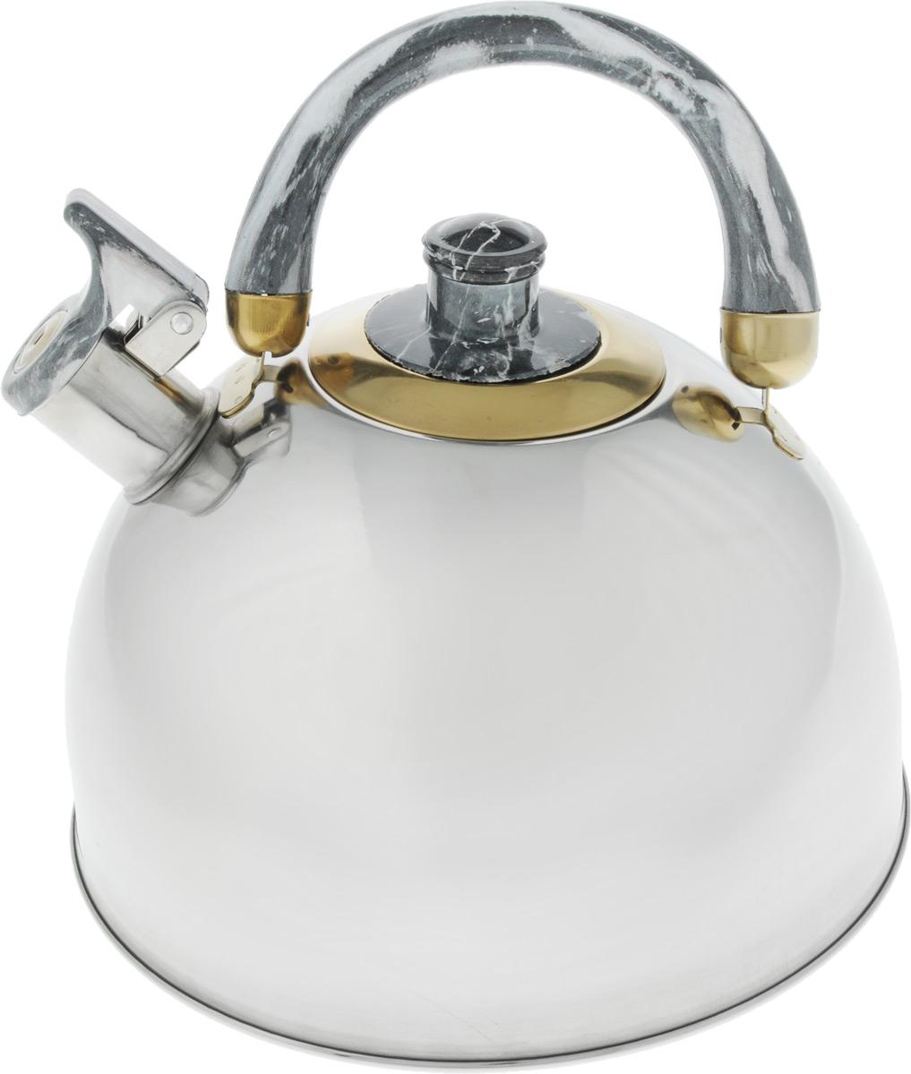 Чайник Bohmann Lite, со свистком, цвет: светло-серый, 4,5 л643BHL_светло-серыйЧайник Bohmann Lite изготовлен из коррозионностойкой стали с зеркальной полировкой. Это материал, зарекомендовавший себя как идеально подходящий для изготовления кухонной посуды, столовых приборов и аксессуаров. Прочность, надежность, стойкость к кислотам и привлекательный внешний вид - основные свойства этого материала. Подвижная ручка, выполненная из термостойкого пластика под мрамор, обеспечивает комфортную эксплуатацию. Носик чайника оборудован свистком, который громким сигналом оповестит о закипании воды. Серия Lite - это посуда из стали, легкая и экономичная. Доступна для широкого круга потребителей, оптимальна по цене и качеству. Подходит для любой кухни, привлекательна по своим характеристикам, цене и практичности. Чайник подходит для электрических, газовых, галогеновых и стеклокерамических плит. Изделие можно мыть в посудомоечной машине. Диаметр (по верхнему краю): 8,5 см. Диаметр основания: 22 см. Высота чайника (без учета ручки и крышки): 12,5 см.