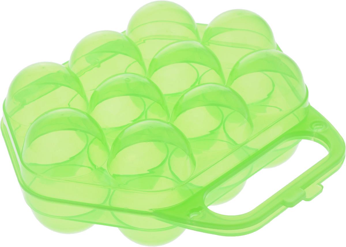 Контейнер для яиц Idea, на 10 шт, цвет: прозрачный зеленый, 20 х 19 х 7,5 смМ 1210_прозрачный зеленыйКонтейнер Idea, изготовленный из пищевого пластика, выполнен в виде чемоданчика и снабжен специальными ячейками для 10 яиц. Надежный защелкивающийся замок предотвратит случайное раскрытие контейнера. Изделие не занимает много места, что очень удобно при транспортировке и хранении. Размер контейнера: 20 х 19 х 7,5 см. Диаметр ячейки: 4,3 см.