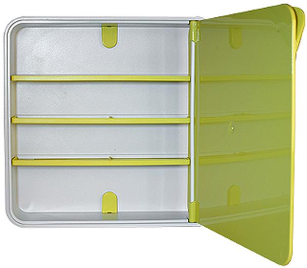 Подвесной органайзер для лекарств Byline, цвет: светло-зеленый. 108.3202.0625051 7_желтыйНастенная аптечка - изготовлена из прочного пластика высокого качества, позволяющего эксплуатировать изделие на протяжение весьма существенного периода. Уникальность аптечке придает глянцевая дверца яркого цвета с удобной ручкой.