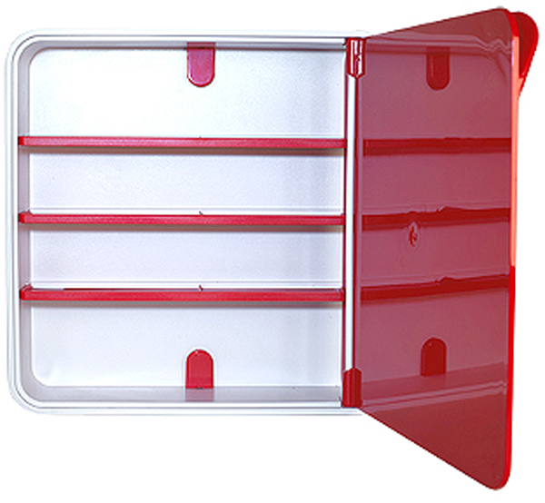 Подвесной органайзер для лекарств Byline, цвет: красный. 108.3202.05Z-0307Настенная аптечка - изготовлена из прочного пластика высокого качества, позволяющего эксплуатировать изделие на протяжение весьма существенного периода. Уникальность аптечке придает глянцевая дверца яркого цвета с удобной ручкой.