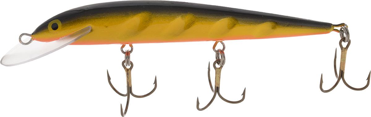 Воблер Blind Paroni, цвет: желтый, черный, длина 13 см, вес 17 гPGPS7797CIS08GBNVВоблер Blind Paroni применяется для ловли хищных видов рыб. Воблер изготовлен из качественного пластика и отличается яркой расцветкой. Три тройника не дадут ускользнуть самой верткой рыбе.