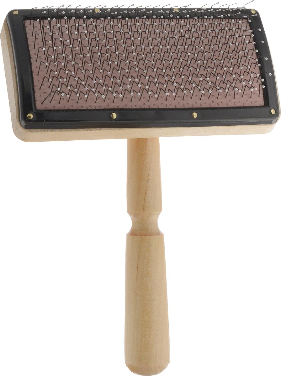 Пуходерка-щетка Adel Dog Премиум, для шерсти средней длины. 1275612756Пуходерка-щетка Adel Dog Премиум предназначена для повседневного ухода за шерстью средней длины кошек и собак. Изделие выполнено из дерева. Рабочая поверхность имеет частую тонкую металлическую щетину, которая избавляет от колтунов и спутывания, делает шерсть пушистой и красивой, вычесывает выпавшую шерсть, а также стимулирует рост новой. Щетинки расположены на воздушной подложке, снижающей усилия при расчесывании, и снабжены специальными каплями для комфорта вашего питомца. Пуходерка имеет эргономичную ручку.Длина пуходерки: 17 см.Размер рабочей поверхности: 12 х 6 см.