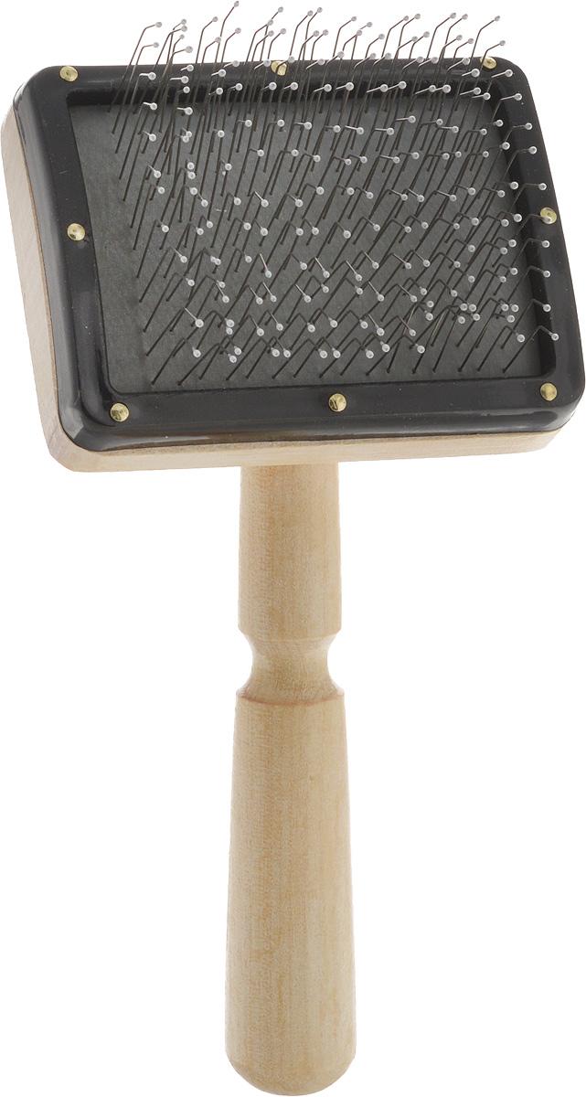 Пуходерка-щетка Adel Dog Премиум, для средней и длинной шерсти. 1275712757Пуходерка-щетка Adel Dog Премиум предназначена для повседневного ухода за средней и длинной шерстью кошек и собак. Изделие выполнено из дерева. Рабочая поверхность имеет частую тонкую металлическую щетину, которая избавляет от колтунов и спутывания, делает шерсть пушистой и красивой, вычесывает выпавшую шерсть, а также стимулирует рост новой. Щетинки расположены на воздушной подложке, снижающей усилия при расчесывании, и снабжены специальными каплями для комфорта вашего питомца. Пуходерка имеет эргономичную ручку.Длина пуходерки: 17 см.Размер рабочей поверхности: 8 х 6 см.