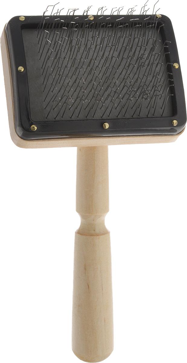 Пуходерка-щетка Adel Pet Премиум, для средней и длинной шерсти0120710Пуходерка-щетка Adel Pet Премиум предназначена для повседневного ухода за средней и длинной шерстью кошек и собак. Изделие выполнено из дерева. Рабочая поверхность имеет частую тонкую металлическую щетину, которая избавляет от колтунов и спутывания, делает шерсть пушистой и красивой, вычесывает выпавшую шерсть, а также стимулирует рост новой. Щетинки расположены на воздушной подложке, снижающей усилия при расчесывании. Пуходерка имеет эргономичную ручку.Длина пуходерки: 17 см.Размер рабочей поверхности: 8 х 6 см.