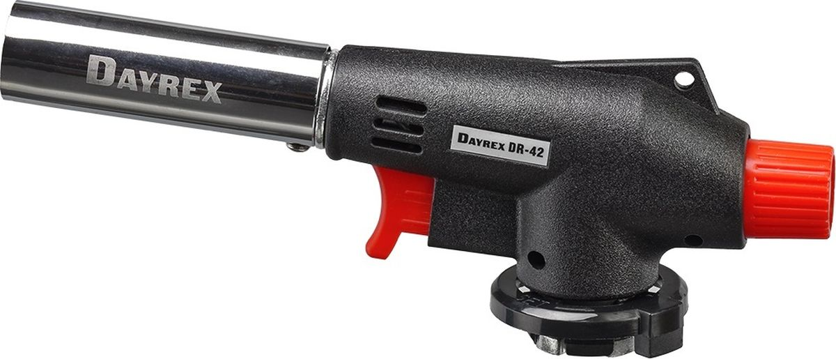 Горелка газовая FOCUSray Dayrex-42 1/10/5042848241Универсальная газовая горелка. Электронное воспламенение.Температура открытого пламени — 1300°С.Длина открытого пламени — 165 мм. Расход газа - 1,68 г./мин.