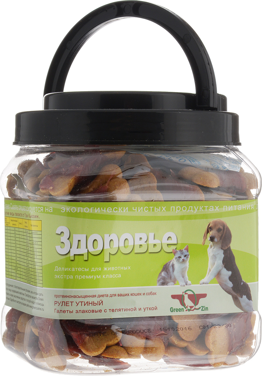 Лакомство для собак GreenQZin Здоровье, галеты с телятиной и уткой, 750 г0120710Лакомство для кошек и собак GreenQZin Здоровье - это галеты, произведенные на основе муки из нешлифованных зерен овса, риса, кукурузы и перетертой сушеной телячьей вырезки. В овсе содержатся витамины (А, В1, В2, Е), жиры, аминокислоты и минеральные вещества, которые повышают защитную функцию организма питомца. Рис - это источник быстрых углеводов для поддержания высокого уровня двигательной активности питомца. Рисовая кожура также имеет большое количество витамина РР, помогающего в деятельности ЦНС. В кукурузе есть витамины (В1, В2, В3, В6), качественный белок и ненасыщенные жирные кислоты для нормальной работы сердечно-сосудистой системы. Добавление тертой телятины в состав муки, а также утки сверху для обмотки деликатеса в виде ролла позволяет повысить содержание протеина в лакомстве. Регулярное употребление галет повышает защитную функцию организма вашего питомца, повышает сопротивляемость воздействию негативных факторов и вирусных болезней. Лакомство не содержит консервантов, красителей, гормонов, антибиотиков, ГМО. Не вызывает аллергий. Товар сертифицирован.