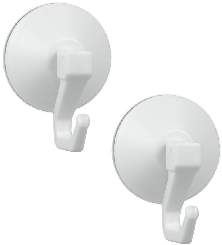 Крючки на присоске Metaltex Ventouse+, цвет: белый, 2 шт68/5/3Набор из 2-х крючков Metaltex Ventouse+ выполнен из пластика белого цвета, предназначен для постоянного размещения на стене. Крепится при помощи вакуумной присоски. Такие крючки легко прикреплять и удобно использовать, после снятия не оставляют следов на поверхности.Диаметр крючка: 4 см.