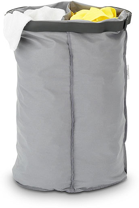 Мешок для бака для белья Brabantia, двойной. 10238712723Мешок Brabantia для бака для белья (55л).Сменный мешок подойдет для бака для белья Brabantia объемом 30-35л.Этот мешок для белья изготовлен из прочной ткани (100% хлопок) и легко стирается.Благодаря эластичным прорезиненным краям мешок легко устанавливается и не соскальзывает в бак.