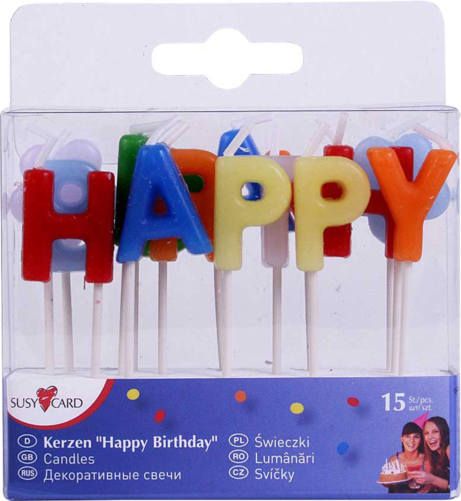 Susy Card Свечи для торта детские Happy Birthday 15 шт