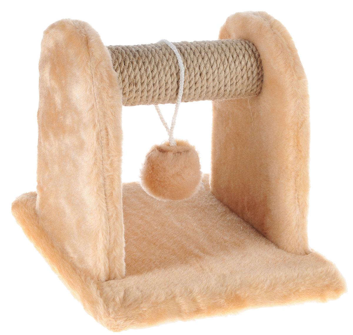 Когтеточка для котят Меридиан, с игрушкой, цвет: светло-коричневый, бежевый, 26 х 26 х 26 см0120710Когтеточка Меридиан предназначена для стачивания когтей вашего котенка и предотвращения их врастания. Она выполнена из ДВП, ДСП и обтянута искусственным мехом. Точатся когти о накладку из джута. Когтеточка оснащена подвесной игрушкой, привлекающей внимание котенка.Когтеточка позволяет сохранить неповрежденными мебель и другие предметы интерьера.