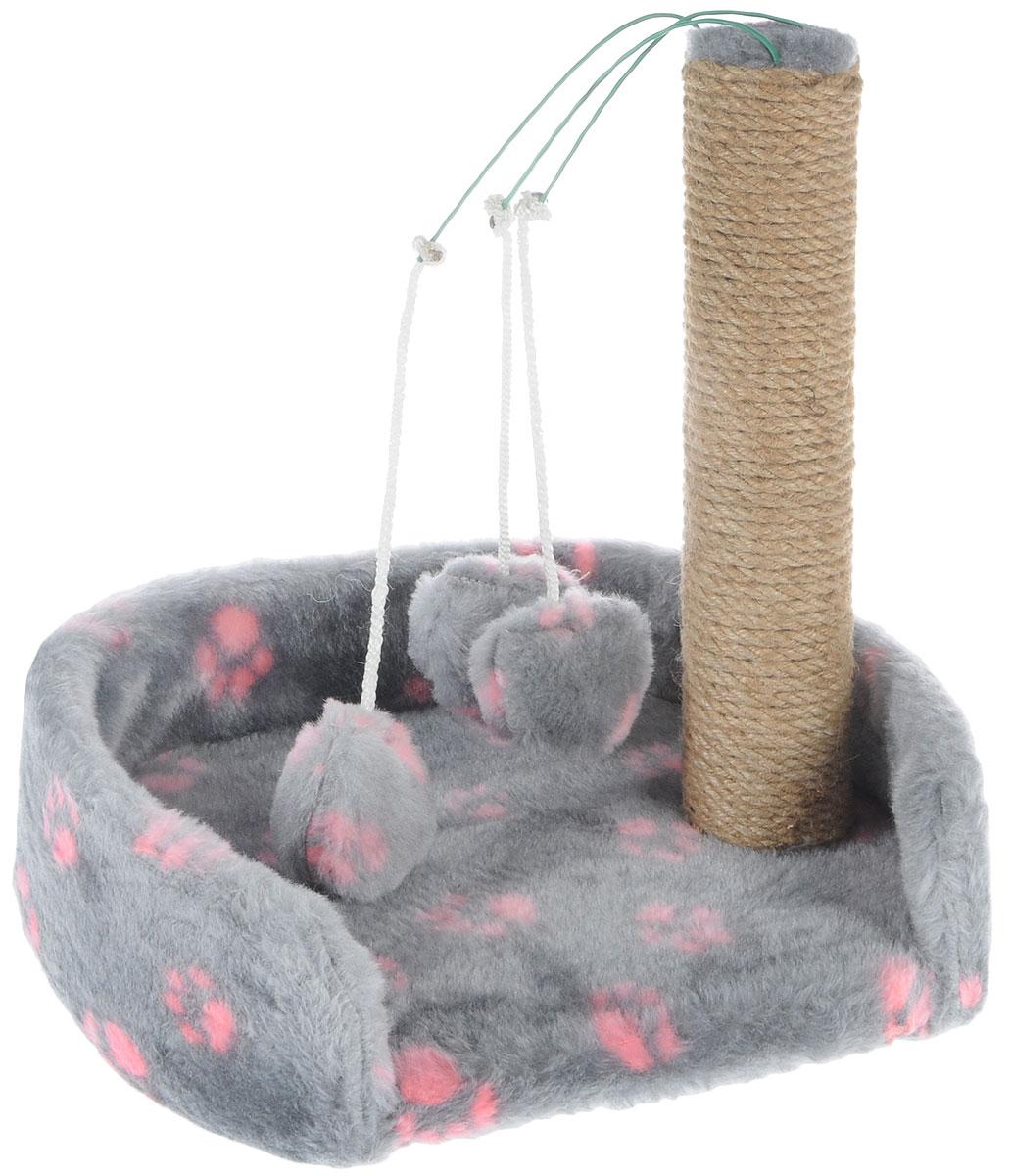 Когтеточка для котят Меридиан, с лежанкой, цвет: серый, розовый, бежевый, 34 х 26 х 34 см0120710Когтеточка Меридиан предназначена для стачивания когтей вашего котенка и предотвращения их врастания. Она выполнена из ДВП и ДСП и обтянута искусственным мехом. Точатся когти о столбик из джута. Когтеточка оснащена подвесными игрушками, привлекающими внимание котенка. Внизу имеется спальное место.Когтеточка позволяет сохранить неповрежденными мебель и другие предметы интерьера.