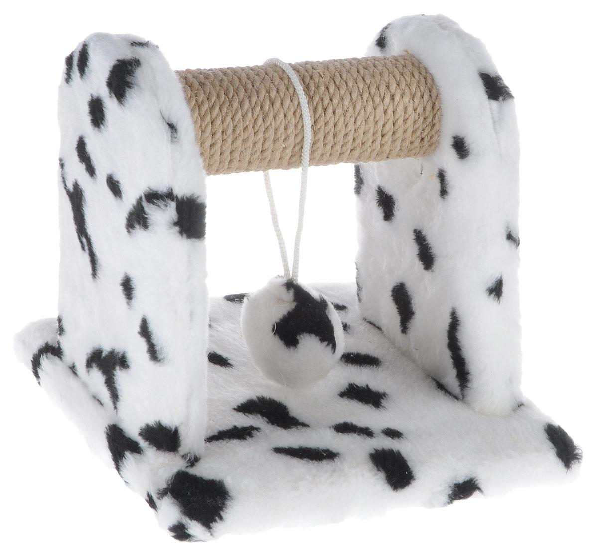 Когтеточка для котят Меридиан Далматин, с игрушкой, 26 х 26 х 26 см0120710Когтеточка Меридиан Далматин предназначена для стачивания когтей вашего котенка. Изделие выполнено из ДВП и ДСП, обтянуто искусственным мехом с принтом под далматинца. Круглая планка изготовлена из джута. Изделие снабжено подвесной игрушкой. Такая когтеточка позволит сохранить неповрежденными мебель и другие предметы интерьера.