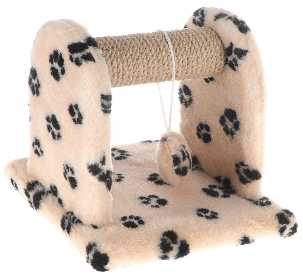 Когтеточка для котят Меридиан, с игрушкой, цвет: бежевый, черный, 26 х 26 х 26 см0120710Когтеточка Меридиан предназначена для стачивания когтей вашего котенка и предотвращения их врастания. Она выполнена из ДВП, ДСП и обтянута искусственным мехом. Точатся когти о накладку из джута. Когтеточка оснащена подвесной игрушкой, привлекающей внимание котенка.Когтеточка позволяет сохранить неповрежденными мебель и другие предметы интерьера.
