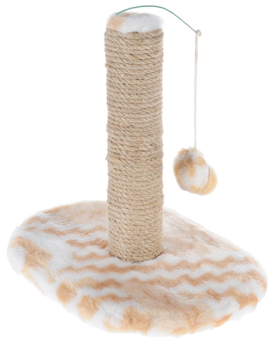 Когтеточка для котят Меридиан, на подставке, цвет: белый, бежевый, 30 х 24 х 35 см0120710Когтеточка Меридиан поможет сохранить мебель и ковры в доме от когтей вашего любимца, стремящегося удовлетворить свою естественную потребность точить когти. Когтеточка изготовлена из ДВП, ДСП, искусственного меха и джута. Товар продуман в мельчайших деталях и, несомненно, понравится вашему котенку. Подвесная игрушка привлечет внимание питомца.Всем кошкам необходимо стачивать когти. Когтеточка - один из самых необходимых аксессуаров для кошки. Для приучения к когтеточке можно натереть ее сухой валерьянкой или кошачьей мятой. Когтеточка поможет вашему любимцу стачивать когти и при этом не портить вашу мебель.