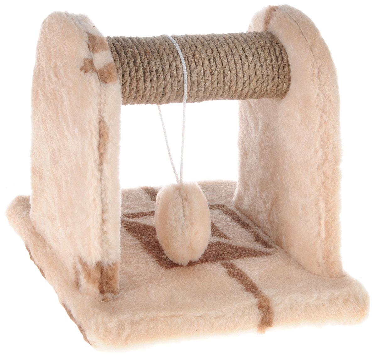 Когтеточка для котят Меридиан, с игрушкой, цвет: бежевый, коричневый, 26 х 26 х 26 см0120710Когтеточка Меридиан предназначена для стачивания когтей вашего котенка и предотвращения их врастания. Она выполнена из ДВП, ДСП и обтянута искусственным мехом. Точатся когти о накладку из джута. Когтеточка оснащена подвесной игрушкой, привлекающей внимание котенка.Когтеточка позволяет сохранить неповрежденными мебель и другие предметы интерьера.