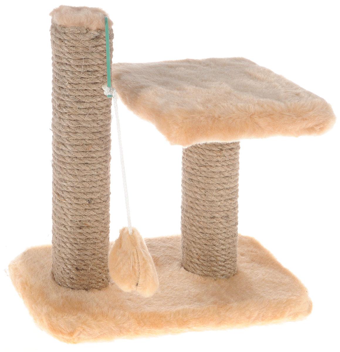 Когтеточка для котят Меридиан, двойная, цвет: светло-коричневый, бежевый, 30 х 20 х 34 см0120710Когтеточка Меридиан предназначена для стачивания когтей вашего котенка и предотвращения их врастания. Она выполнена из ДВП, ДСП и обтянута искусственным мехом. Точатся когти о столбик из джута. Когтеточка оснащена подвесной игрушкой и полкой, на которой котенок сможет отдохнуть.Когтеточка позволяет сохранить неповрежденными мебель и другие предметы интерьера.