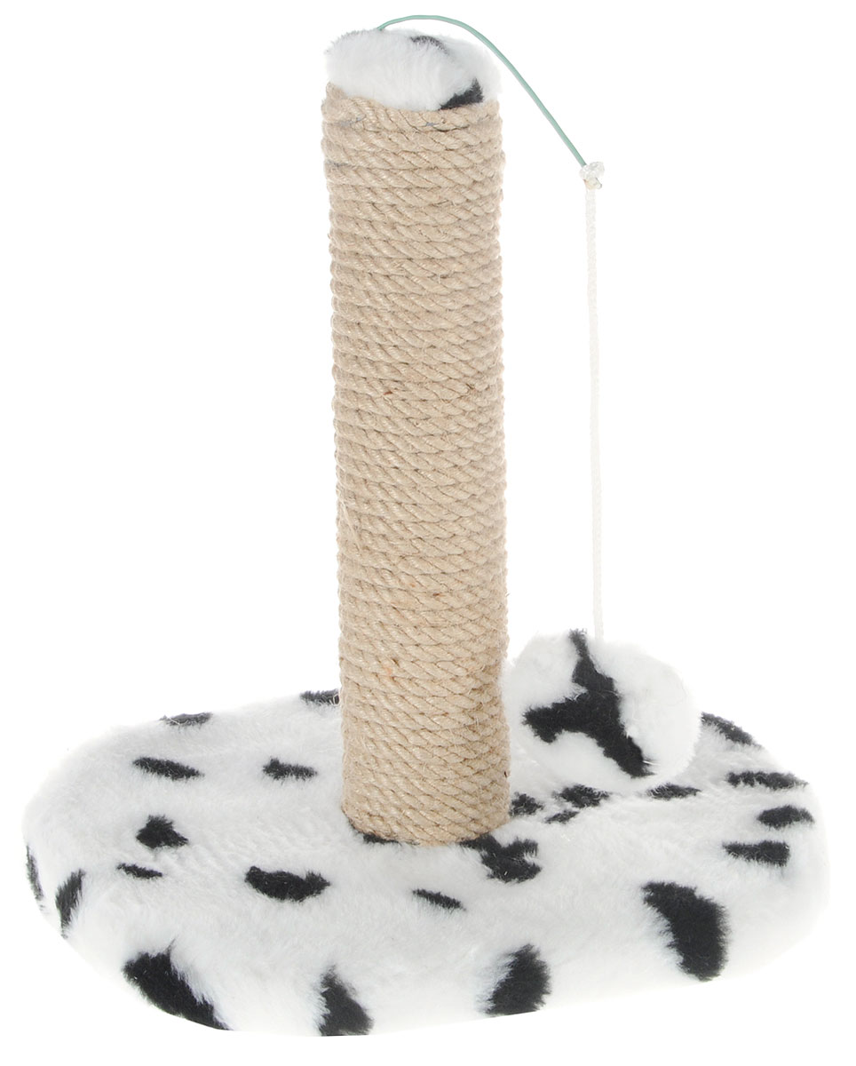 Когтеточка для котят Меридиан, на подставке, цвет: белый, черный, бежевый, 30 х 24 х 35 см0120710Когтеточка Меридиан поможет сохранить мебель и ковры в доме от когтей вашего любимца, стремящегося удовлетворить свою естественную потребность точить когти. Когтеточка изготовлена из ДВП, ДСП, искусственного меха и джута. Товар продуман в мельчайших деталях и, несомненно, понравится вашему котенку. Подвесная игрушка привлечет внимание питомца.Всем кошкам необходимо стачивать когти. Когтеточка - один из самых необходимых аксессуаров для кошки. Для приучения к когтеточке можно натереть ее сухой валерьянкой или кошачьей мятой. Когтеточка поможет вашему любимцу стачивать когти и при этом не портить вашу мебель.