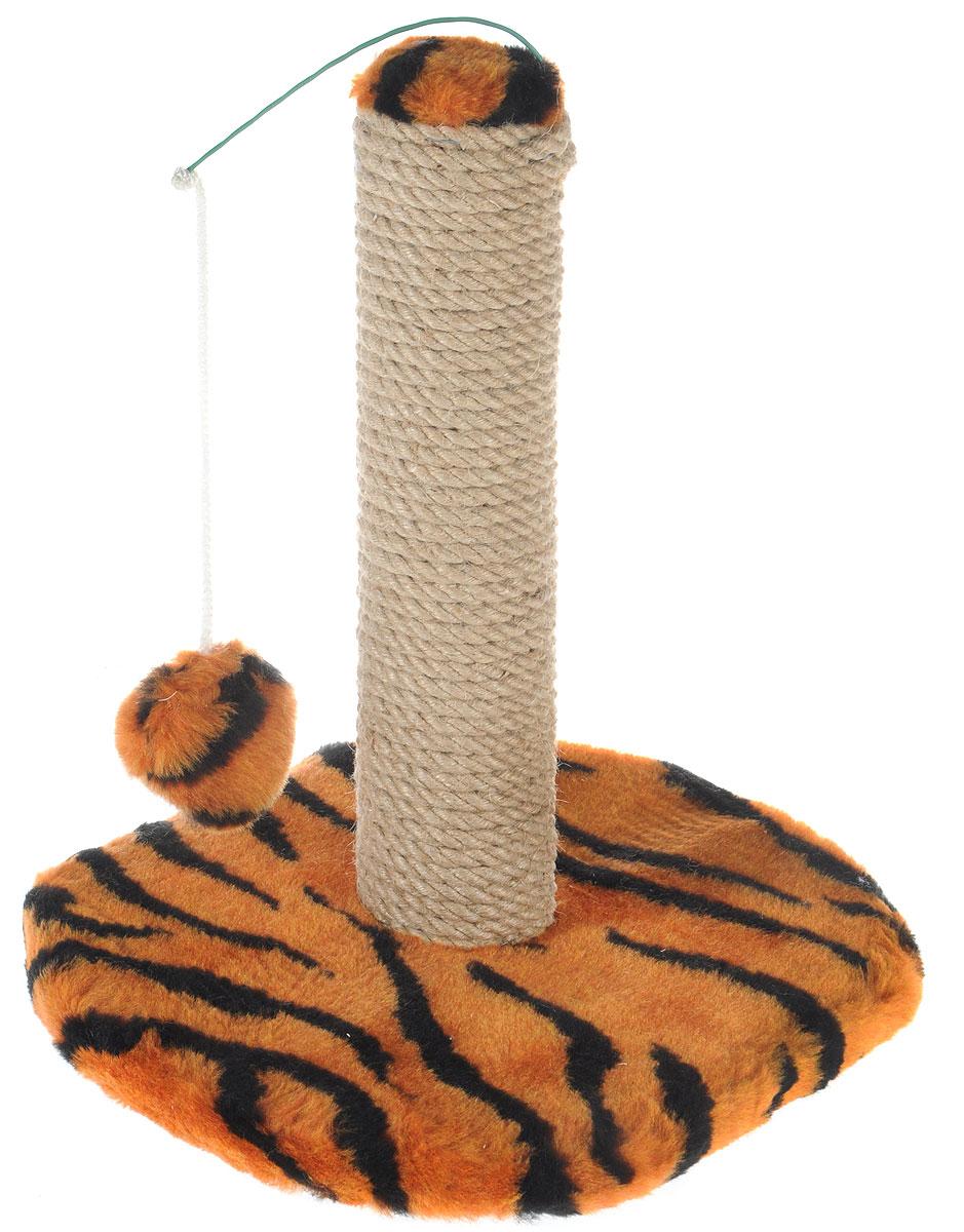 Когтеточка для котят Меридиан, на подставке, цвет: оранжевый, черный, бежевый, 30 х 24 х 35 см0120710Когтеточка Меридиан поможет сохранить мебель и ковры в доме от когтей вашего любимца, стремящегося удовлетворить свою естественную потребность точить когти. Когтеточка изготовлена из ДВП, ДСП, искусственного меха и джута. Товар продуман в мельчайших деталях и, несомненно, понравится вашему котенку. Подвесная игрушка привлечет внимание питомца.Всем кошкам необходимо стачивать когти. Когтеточка - один из самых необходимых аксессуаров для кошки. Для приучения к когтеточке можно натереть ее сухой валерьянкой или кошачьей мятой. Когтеточка поможет вашему любимцу стачивать когти и при этом не портить вашу мебель.