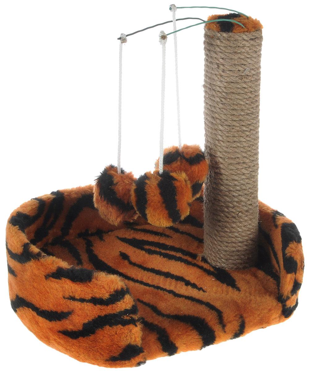 Когтеточка для котят Меридиан, с лежанкой, цвет: оранжевый, черный, бежевый, 34 х 26 х 34 см0120710Когтеточка Меридиан предназначена для стачивания когтей вашего котенка и предотвращения их врастания. Она выполнена из ДВП и ДСП и обтянута искусственным мехом. Точатся когти о столбик из джута. Когтеточка оснащена подвесными игрушками, привлекающими внимание котенка. Внизу имеется спальное место.Когтеточка позволяет сохранить неповрежденными мебель и другие предметы интерьера.