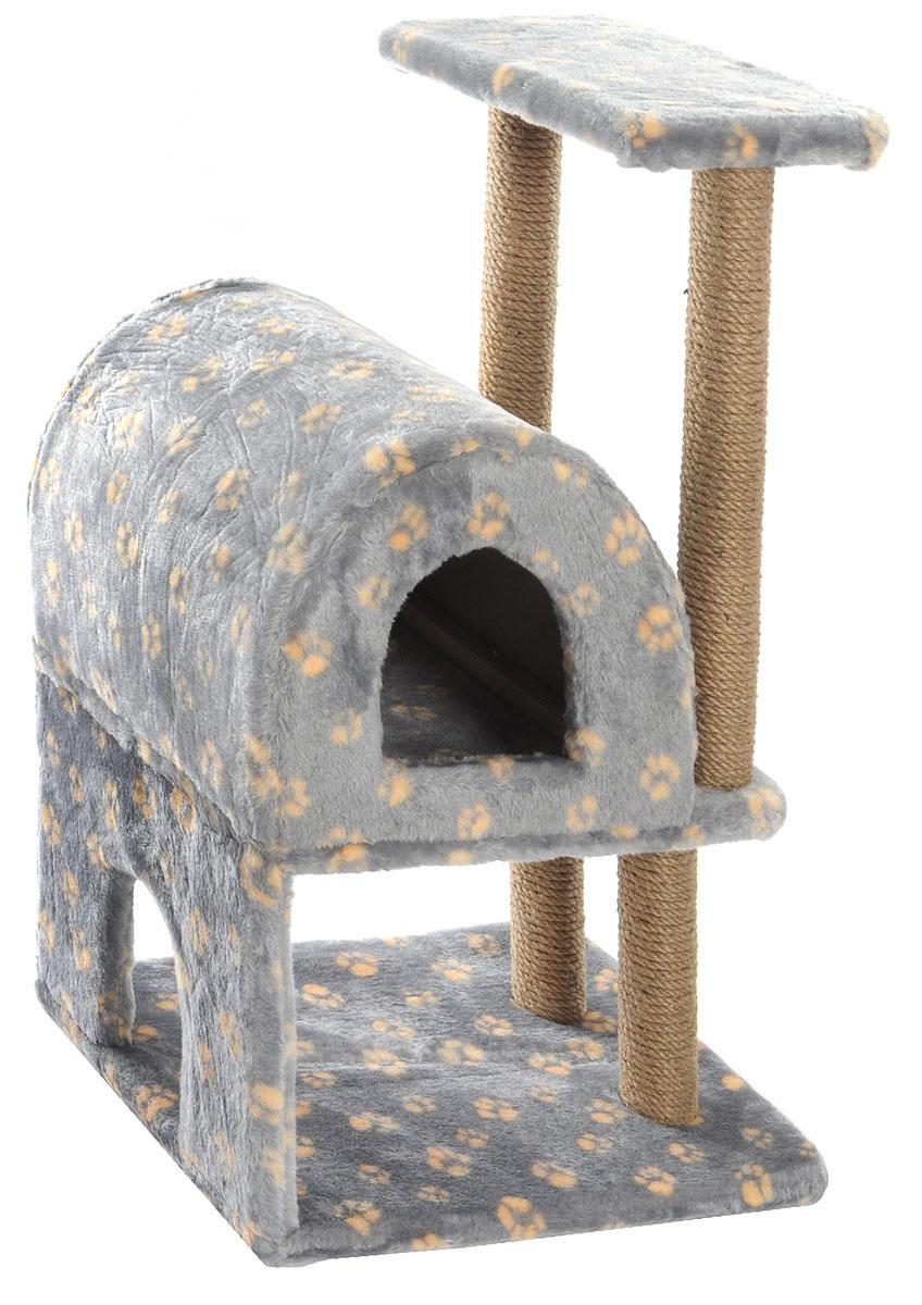 Домик-когтеточка Меридиан, полукруглый, двухэтажный, с полкой, цвет: серый, бежевый, 55 х 40 х 85 смК704ГДомик-когтеточка Меридиан выполнен из высококачественного ДВП и ДСП и обтянут искусственным мехом. Изделие предназначено для кошек. Ваш домашний питомец будет с удовольствием точить когти о специальные столбики, изготовленные из джута. А отдохнуть он сможет либо на полке, либо в домике. Домик-когтеточка Меридиан принесет пользу не только вашему питомцу, но и вам, так как он сохранит мебель от когтей и шерсти.Общий размер: 55 х 40 х 85 см.Размер нижнего домика: 40 х 40 х 33 см.Размер полки: 40 х 25 см.
