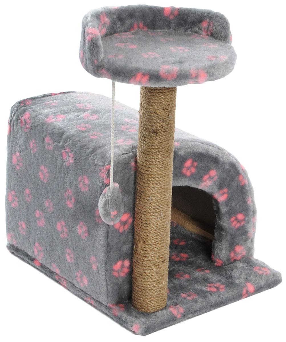 Домик-когтеточка Меридиан, полукруглый, цвет: серый, розовый, бежевый, 54 х 40 х 59 см0120710Домик-когтеточка Меридиан выполнен из высококачественного ДВП и ДСП и обтянут искусственным мехом. Изделие предназначено для кошек. Ваш домашний питомец будет с удовольствием точить когти о специальный столбик, изготовленный из джута. А отдохнуть он сможет либо на полке, либо в домике. Изделие снабжено подвесной игрушкой. Домик-когтеточка Меридиан принесет пользу не только вашему питомцу, но и вам, так как он сохранит мебель от когтей и шерсти.Общий размер: 54 х 40 х 59 см.Размер домика: 36 х 36 х 32 см.Размер полки: 27 х 26 см.