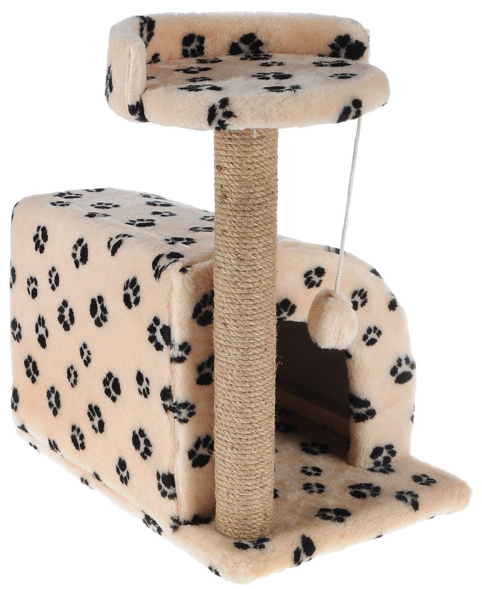 Домик-когтеточка Меридиан, полукруглый, цвет: бежевый, черный, 54 х 40 х 59 смД518Ла_бежевый/черные лапкиДомик-когтеточка Меридиан выполнен из высококачественного ДВП и ДСП и обтянут искусственным мехом. Изделие предназначено для кошек. Ваш домашний питомец будет с удовольствием точить когти о специальный столбик, изготовленный из джута. А отдохнуть он сможет либо на полке, либо в домике. Изделие снабжено подвесной игрушкой. Домик-когтеточка Меридиан принесет пользу не только вашему питомцу, но и вам, так как он сохранит мебель от когтей и шерсти.Общий размер: 54 х 40 х 59 см.Размер домика: 36 х 36 х 32 см.Размер полки: 27 х 26 см.