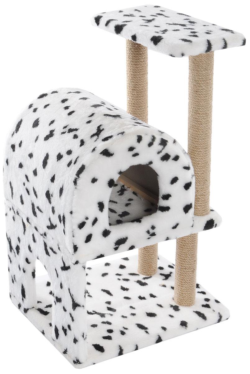 Домик-когтеточка Меридиан, полукруглый, двухэтажный, с полкой, цвет: белый, черный, бежевый, 55 х 40 х 85 см12171996Домик-когтеточка Меридиан выполнен из высококачественного ДВП и ДСП и обтянут искусственным мехом. Изделие предназначено для кошек. Ваш домашний питомец будет с удовольствием точить когти о специальные столбики, изготовленные из джута. А отдохнуть он сможет либо на полке, либо в домике. Домик-когтеточка Меридиан принесет пользу не только вашему питомцу, но и вам, так как он сохранит мебель от когтей и шерсти.Общий размер: 55 х 40 х 85 см.Размер нижнего домика: 40 х 40 х 33 см.Размер полки: 40 х 25 см.