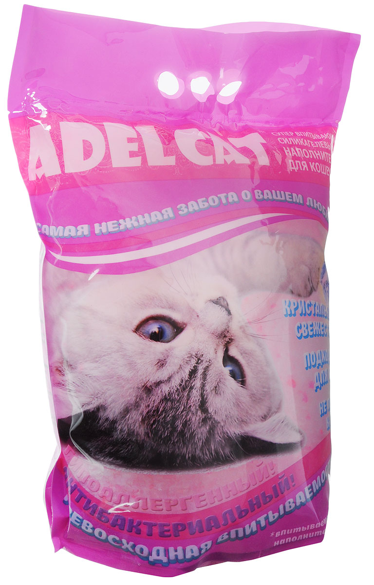 Наполнитель для кошачьих туалетов Adel-Cat, силикагель, с розовыми гранулами, 8 л