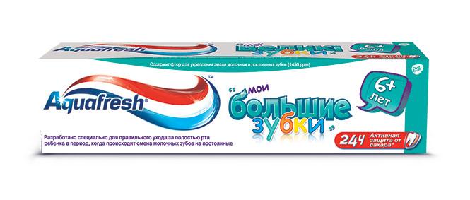 Aquafresh Зубная паста детская Мои большие зубки 6+лет 50мл20010217Зубная паста подходит для молочных зубов. Массовая доля фтора 0, 05%. Тройная защита. Здоровые десны. Крепкие зубы. С мягким вкусом мяты. Укрепляет эмаль.