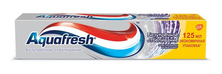 Aquafresh Зубная паста Безупречное отбеливание 125млMP59.4DЗубная паста Аquafresh Безупречное отбеливание обеспечивает тройную защиту полости рта:•Здоровые десны;•Крепкие зубы;•Свежее дыхание.? Помогает сделать зубы заметно более белыми. Отбеливающие микрочастицы очищают, отбеливают и полируют зубы, и создают вокруг них невидимую защитную оболочку. Клинически доказано: более длительный эффект белоснежной улыбки.