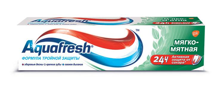Aquafresh зубная паста 3+ Мягко-Мятная 50 мл5737056Паста разработана как лечебно-профилактическое средство для борьбы с начальными стадиями таких заболеваний полости рта как кариес и пародонтоз. При регулярном применении очищает зубы от зубного камня и препятствует образованию на зубах и деснах болезнетворного налета. На зубы и ротовую полость благотворно влияют три активных компонента пасты, содержащихся в каждой из трех цветных полосок фтор, защищающий зубную эмаль от кариеса, вещества, предотвращающие образование зубного налета, а также вещества, препятствующие возникновению неприятного запаха изо рта.