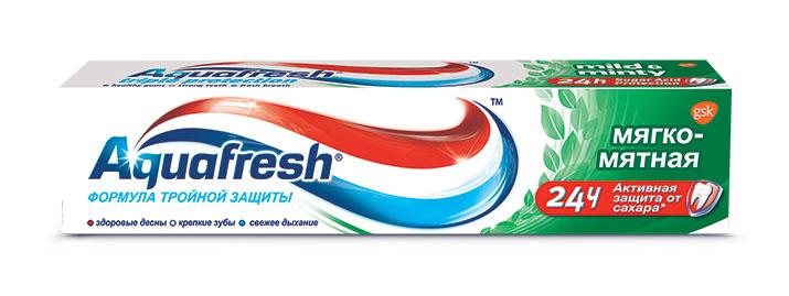 Aquafresh Зубная паста 3+ Мягко-мятная 100 мл5010777139655Паста разработана как лечебно-профилактическое средство для борьбы с начальными стадиями таких заболеваний полости рта как кариес и пародонтоз. При регулярном применении очищает зубы от зубного камня и препятствует образованию на зубах и деснах болезнетворного налета. На зубы и ротовую полость благотворно влияют три активных компонента пасты, содержащихся в каждой из трех цветных полосок фтор, защищающий зубную эмаль от кариеса, вещества, предотвращающие образование зубного налета, а также вещества, препятствующие возникновению неприятного запаха изо рта.