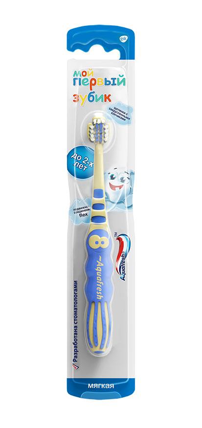 Aquafresh Зубная щетка детская Мой первый зубик 0-2лет20021521Тип: зубная щетка детская. Возраст: от 0 до 2 лет.Степень жесткости: мягкая.Основные эффекты: мягко и тщательно очищает, массирует, обладает привлекательным для детей дизайном, не повреждает нежную детскую слизистую.Отличительные особенности:• яркая, заметная, эта щеточка точно станет любимым другом вашего малыша;• головка изготовлена из мягкой, упругой синтетической нити, щетинки расположены неравномерно, для того, чтобы лучше прочистить труднодоступные места;• рабочая головка щетки мягкая, не повреждает ни ранимую детскую зубную эмаль, ни нежную слизистую полости рта;• размер головки идеально соответствует анатомическим особенностям детей от 0 до 2 лет;• материал, из которого изготовлена щетка, легко поддается обработке, и щетку легко мыть и содержать в чистоте.