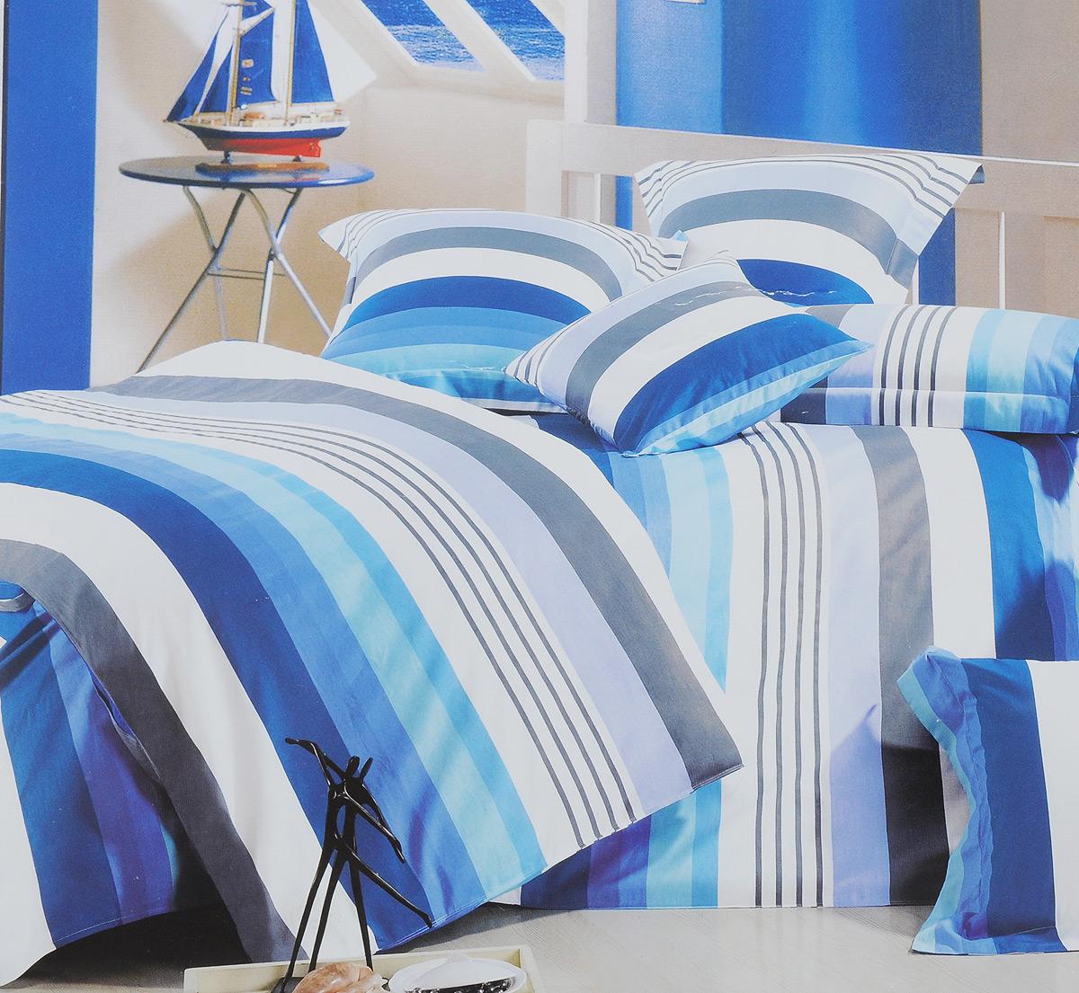 Комплект белья МарТекс Лагуна, евро, наволочки 50х70, 70х70, цвет: белый, голубой, синий391602Комплект постельного белья МарТекс Лагуна состоит из пододеяльника на молнии, простыни, двух наволочек 50х70 и двух наволочек 70х70. Постельное белье оформлено цветными полоскамии имеет изысканный внешний вид. Сатин - производится из высших сортов хлопка, а своим блеском, легкостью и на ощупь напоминает шелк. Такая ткань рассчитана на 200 стирок и более. Постельное белье из сатина превращает жаркие летние ночи в прохладные и освежающие, а холодные зимние - в теплые и согревающие. Благодаря натуральному хлопку, комплект постельного белья из сатина приобретает способность пропускать воздух, давая возможность телу дышать. Одно из преимуществ материала в том, что он практически не мнется и ваша спальня всегда будет аккуратной и нарядной. Приобретая комплект постельного белья МарТекс Лагуна, вы можете быть уверенны в том, что покупка доставит вам и вашим близким удовольствие и подарит максимальный комфорт.