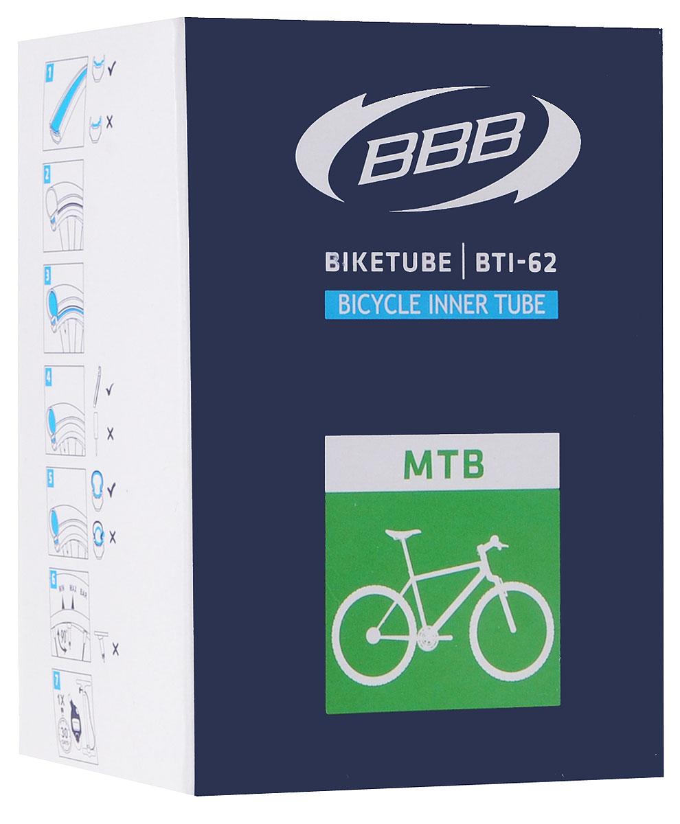 Камера велосипедная BBB, 26, 1,5-1,75 FVBTI-62Камера BBB изготовлена из долговечного резинового компаунда. Никаких швов, которые могут пропускать воздух. Достаточно большая для защиты от проколов и достаточно небольшая для снижения веса. Велосипедные камеры - обязательный атрибут каждого велосипедиста! Никогда не выезжайте из дома на велосипеде, не взяв с собой запасную велосипедную шину!Диаметр колеса: 26.Допустимый размер сечения покрышки: 1,5-1,75.Велониппель (Presta): 33 мм.Толщина стенки: 0,87 мм.