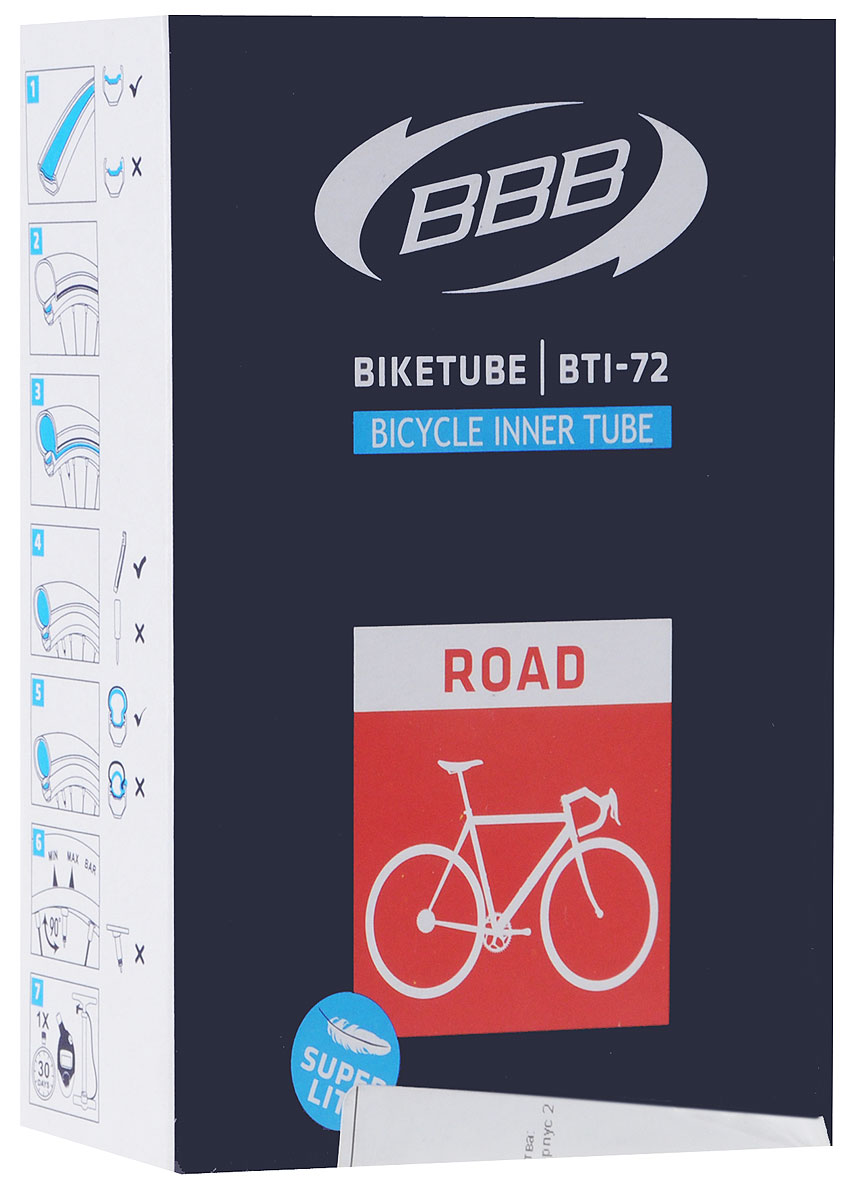 Камера велосипедная BBB, 28, 18, 25C F, V, Super Lite, 80 ммMHDR2G/AКамера BBB изготовлена из долговечного резинового компаунда. Никаких швов, которые могут пропускать воздух. Достаточно большая для защиты от проколов и достаточно небольшая для снижения веса. Велосипедные камеры - обязательный атрибут каждого велосипедиста! Никогда не выезжайте из дома на велосипеде, не взяв с собой запасную велосипедную шину!Диаметр колеса: 28.Допустимый размер сечения покрышки: 18/23.Велониппель (Presta): 80 мм.Толщина стенки: 0,87 мм.