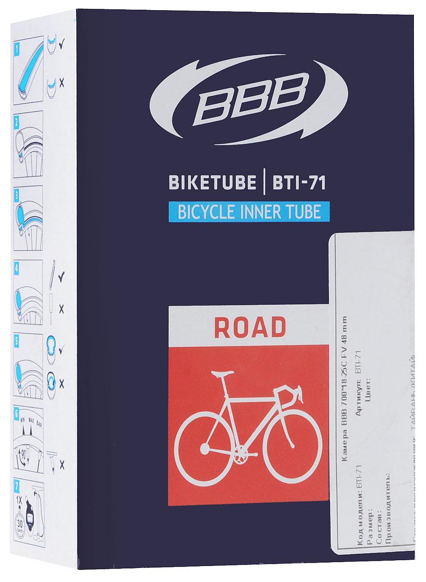 Камера велосипедная BBB, 28, 18-25C FV, 48 ммBTI-71Камера BBB изготовлена из долговечного резинового компаунда. Никаких швов, которые могут пропускать воздух. Достаточно большая для защиты от проколов и достаточно небольшая для снижения веса. Велосипедные камеры - обязательный атрибут каждого велосипедиста! Никогда не выезжайте из дома на велосипеде, не взяв с собой запасную велосипедную шину!Диаметр колеса: 28.Допустимый размер сечения покрышки: 18-25.Велониппель (Presta): 48 мм.Толщина стенки: 0,87 мм.