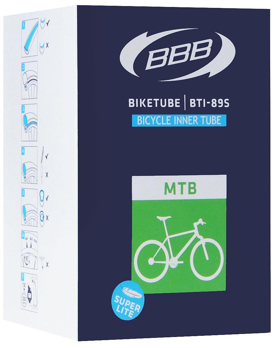 Камера велосипедная BBB, 29, 1,9-2,3 FV, Super Lite, 48 ммCTBE-275P.Камера BBB изготовлена из долговечного резинового компаунда. Никаких швов, которые могут пропускать воздух. Достаточно большая для защиты от проколов и достаточно небольшая для снижения веса. Велосипедные камеры - обязательный атрибут каждого велосипедиста! Никогда не выезжайте из дома на велосипеде, не взяв с собой запасную велосипедную шину!Диаметр колеса: 29.Допустимый размер сечения покрышки: 1,9-2,3.Ниппель: F/V-48 мм.Категория: для горных велосипедов.