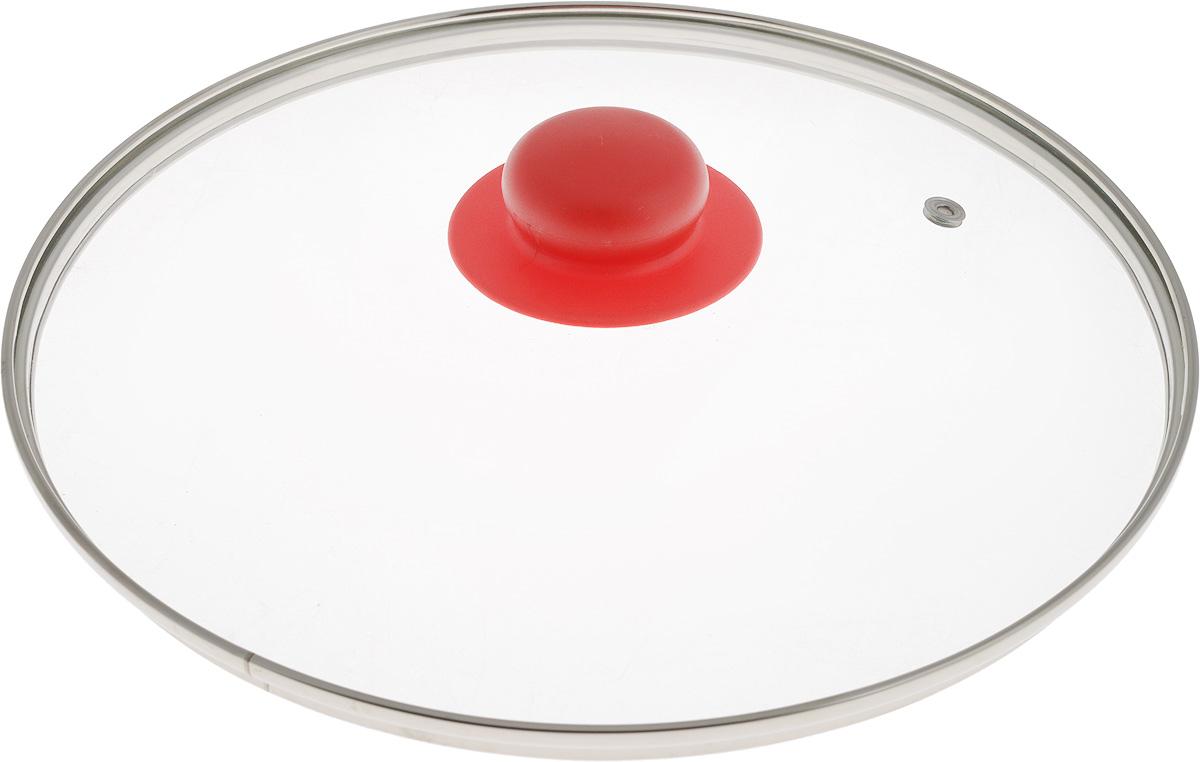 Крышка NaturePan, с металлическим ободом, цвет: красный, прозрачный. Диаметр 26 смFS-91909Крышка NaturePan, изготовленная из жаропрочного стекла, оснащена металлическим ободом, пластиковой ручкой и отверстием для выпуска пара. Окантовка предохраняет от механических повреждений. Изделие удобно в использовании и позволяет контролировать процесс приготовления пищи.Можно мыть в посудомоечной машине.Диаметр крышки: 26 см.Диаметр ручки: 4,5 см.Высота ручки: 2,5 см.