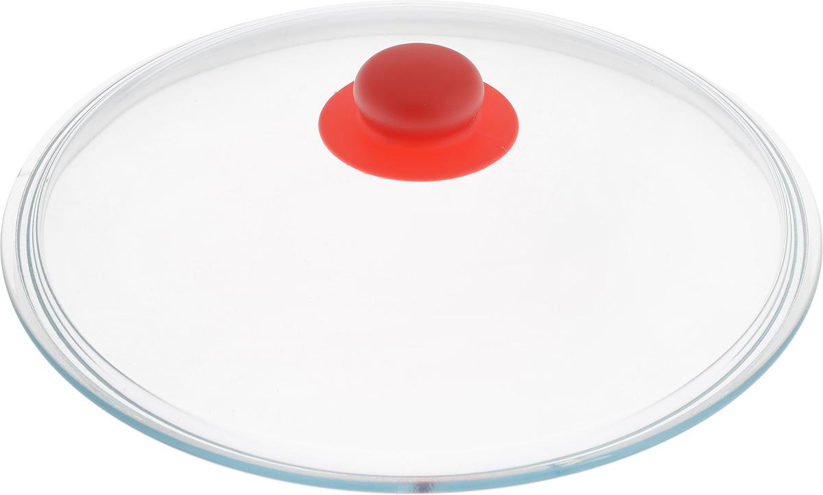 Крышка NaturePan, цвет: красный, прозрачный. Диаметр 28 см54 009312Крышка NaturePan изготовлена из термостойкого и экологически чистого стекла с пластиковой ручкой. Изделие удобно в использовании и позволяет контролировать процесс приготовления пищи.Можно мыть в посудомоечной машине. Диаметр крышки: 28 см.Диаметр ручки: 4,5 см.Высота ручки: 2,5 см.